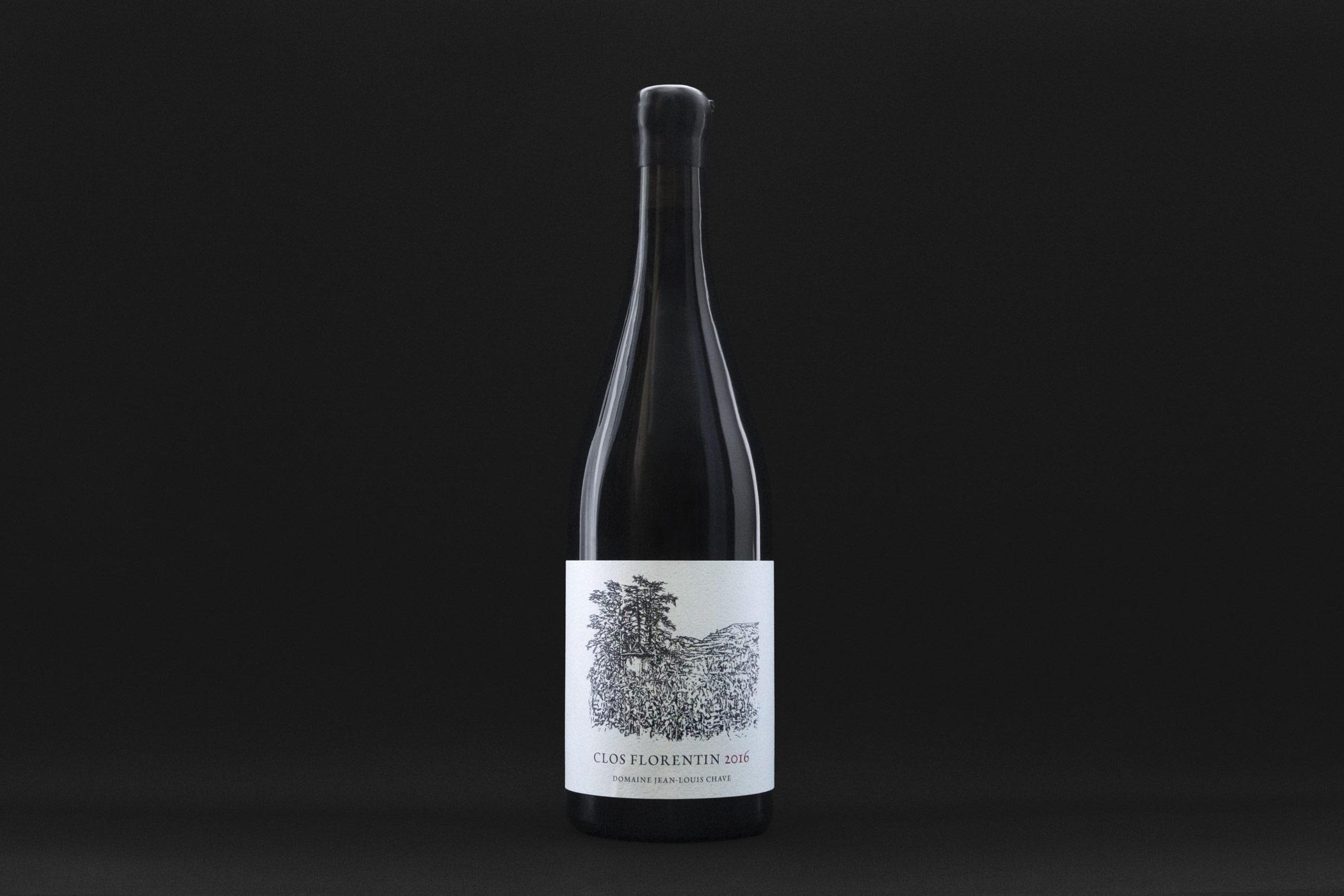 Clos Florentin 2016 Weinflasche der Domaine Jean-Louis Chave mit einem Holzschnitt von Christian Thanhäuser auf dem Etikette