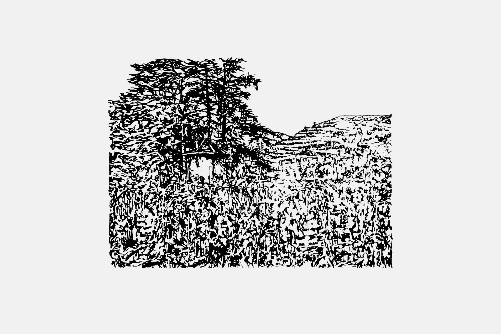 Holzschnitt von Christian Thanhäuser für das Etikette der Weinflasche Clos Florentin 2016 der Domaine Jean-Louis Chave