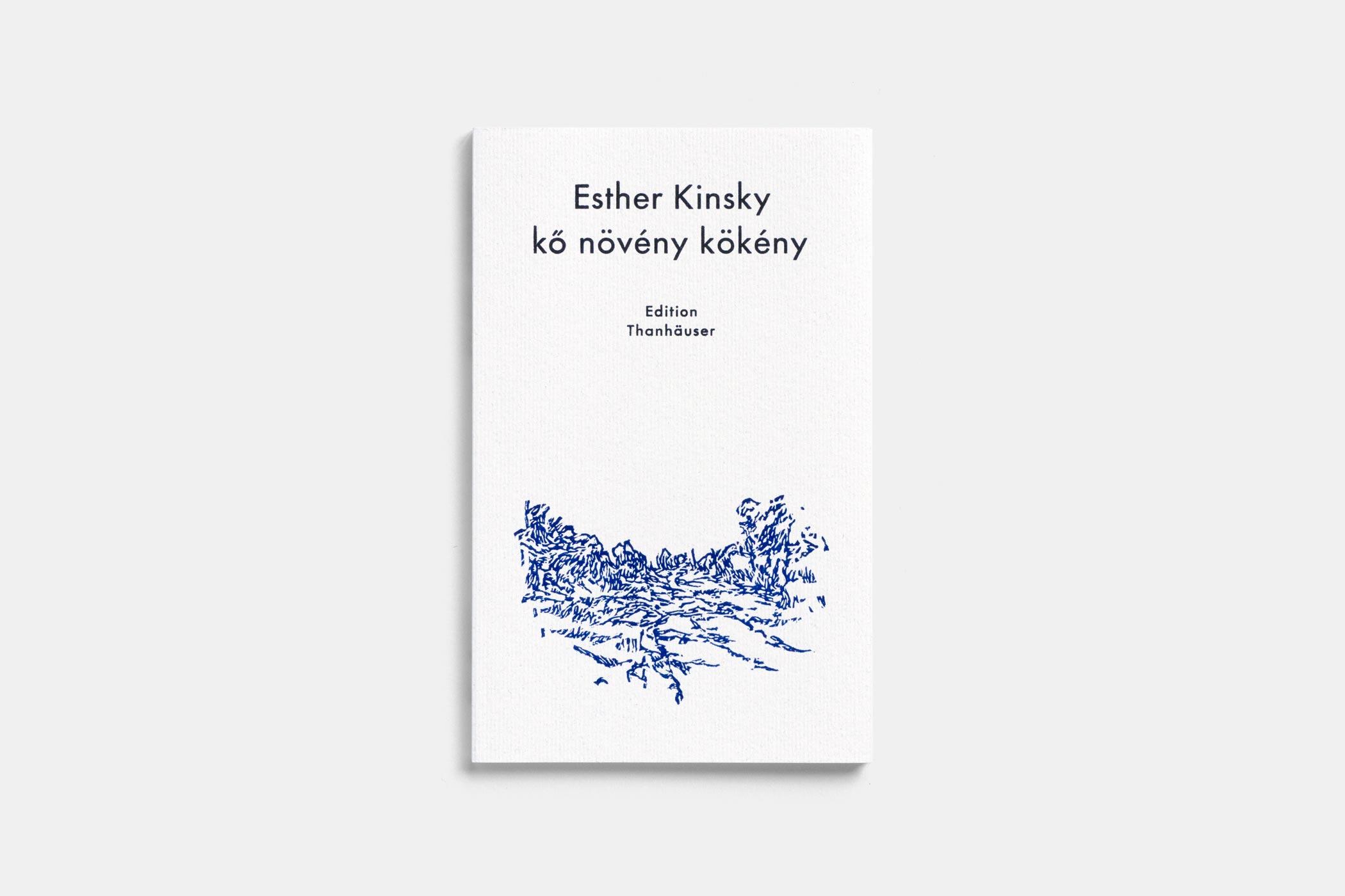 """Das Buch """"kő növény kökény"""" von Esther Kinsky erschienen im Verlag Edition Thanhäuser mit einem blauen Holzschnitt einer Landschaft von Christian Thanhäuser am Umschlag"""