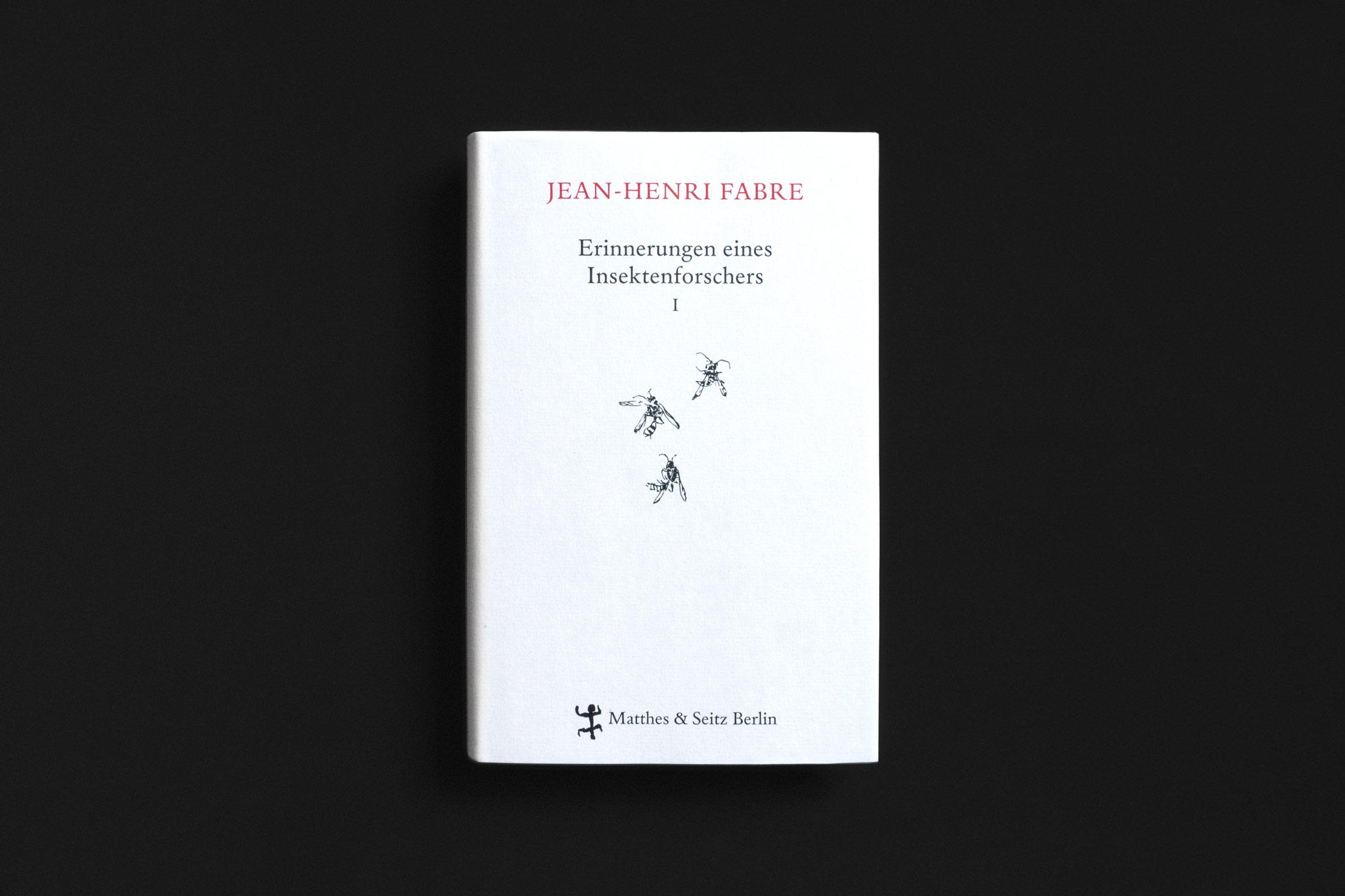 """Das Buch """"Erinnerungen eines Insektenforschers I"""" von Jean-Henri Fabre erschienen im Verlag Matthes & Seitz Berlin mit Federzeichnungen von Insekten gezeichnet von Christian Thanhäuser am Umschlag und im Innenteil"""