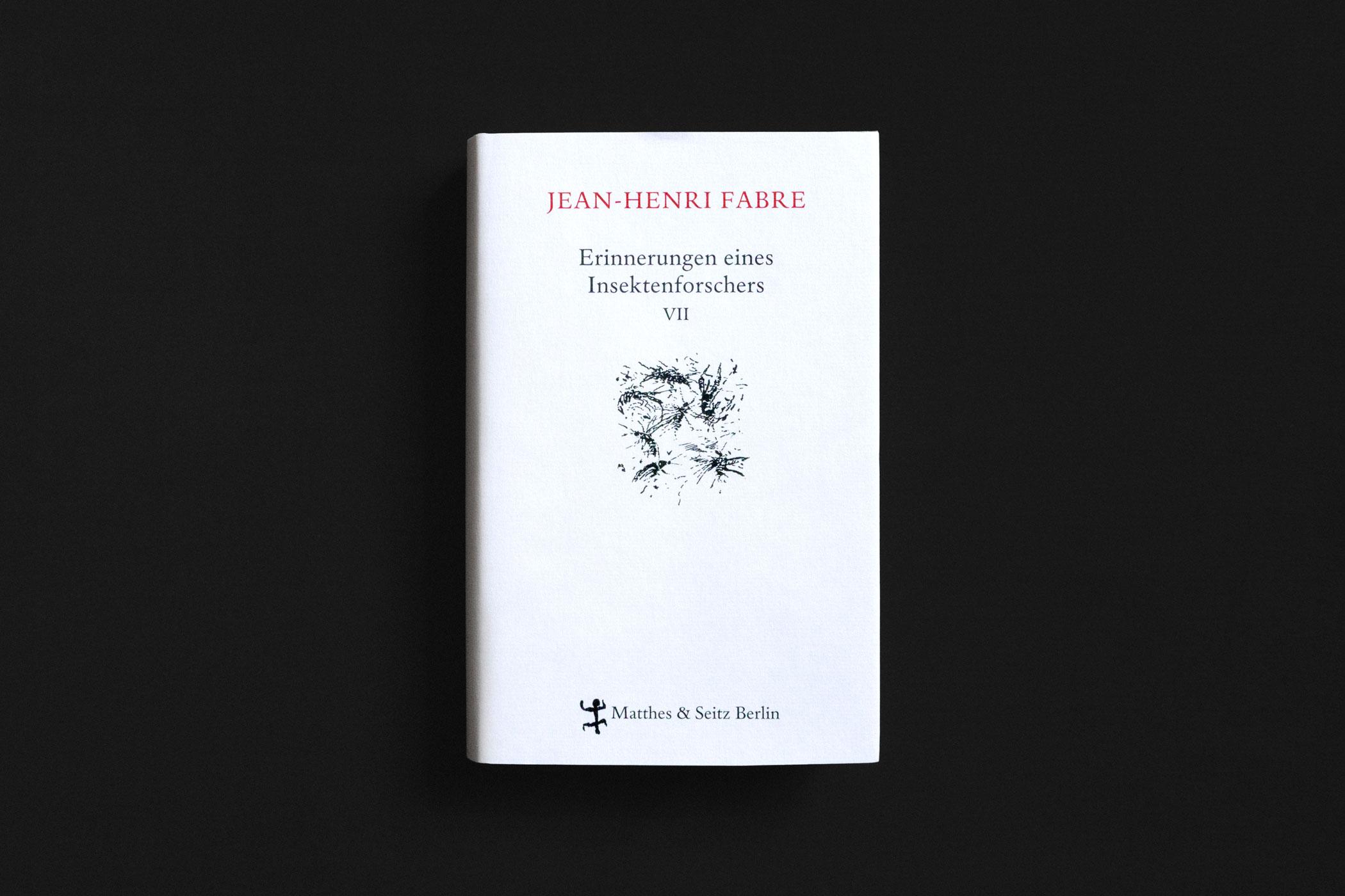 """Das Buch """"Erinnerungen eines Insektenforschers VII"""" von Jean-Henri Fabre erschienen im Verlag Matthes & Seitz Berlin mit Federzeichnungen von Insekten gezeichnet von Christian Thanhäuser am Umschlag und im Innenteil"""