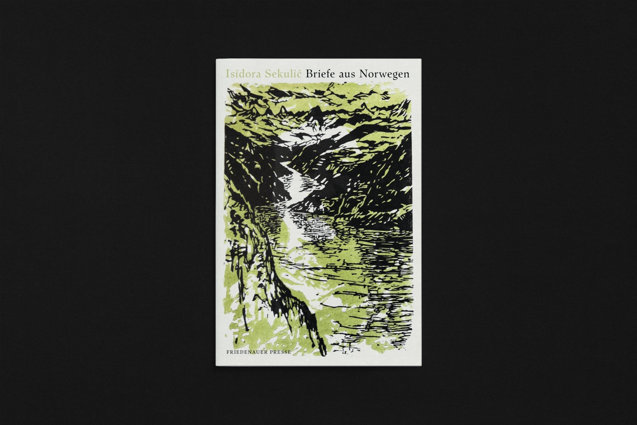 """Das Buch """"Briefe aus Norwegen"""" von Isidore Sekulić erschienen im Verlag Friedenauer Presse mit einem zweifarbigen Holzschnitt von Christian Thanhäuser am Umschlag"""