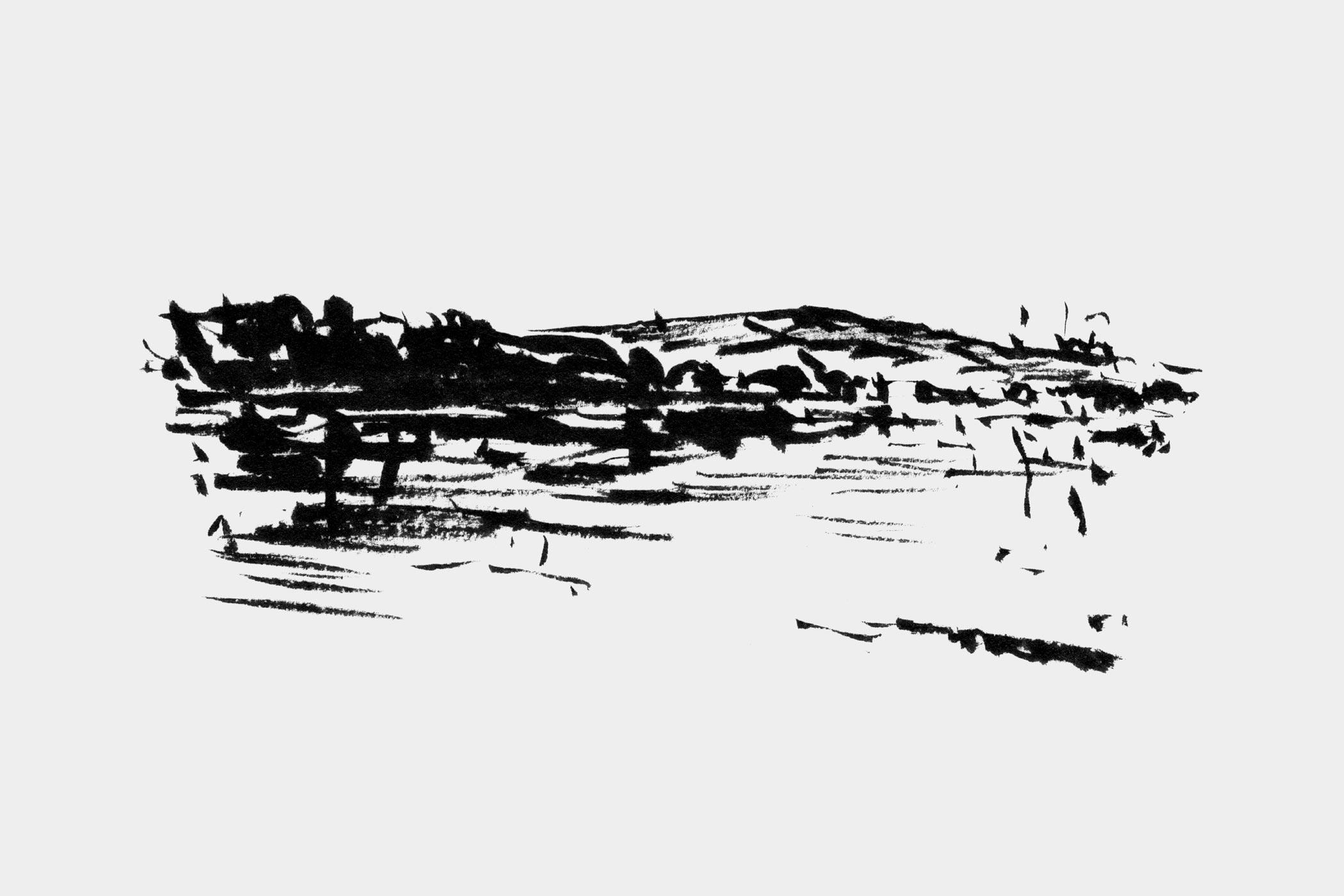 """Pinselzeichnung der Donau, gezeichnet von Christian Thanhäuser das Buch """"Die Donau hinab"""" von Christian Thanhäuser und Karl-Markus Gauß erschienen im Haymon Verlag"""