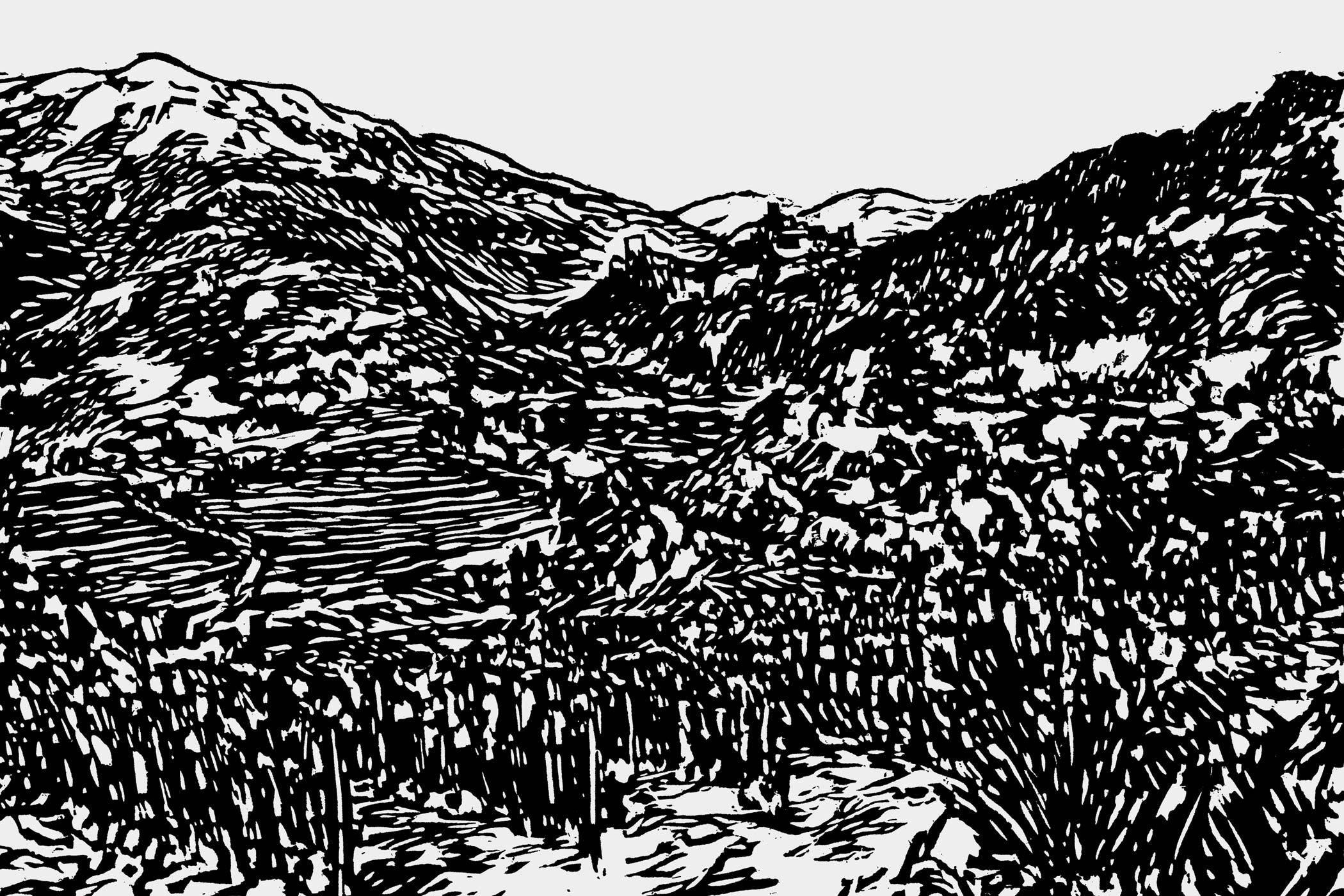 Holzschnitt von Christian Thanhäuser für das Weingut Egger-Ramer Südtirol