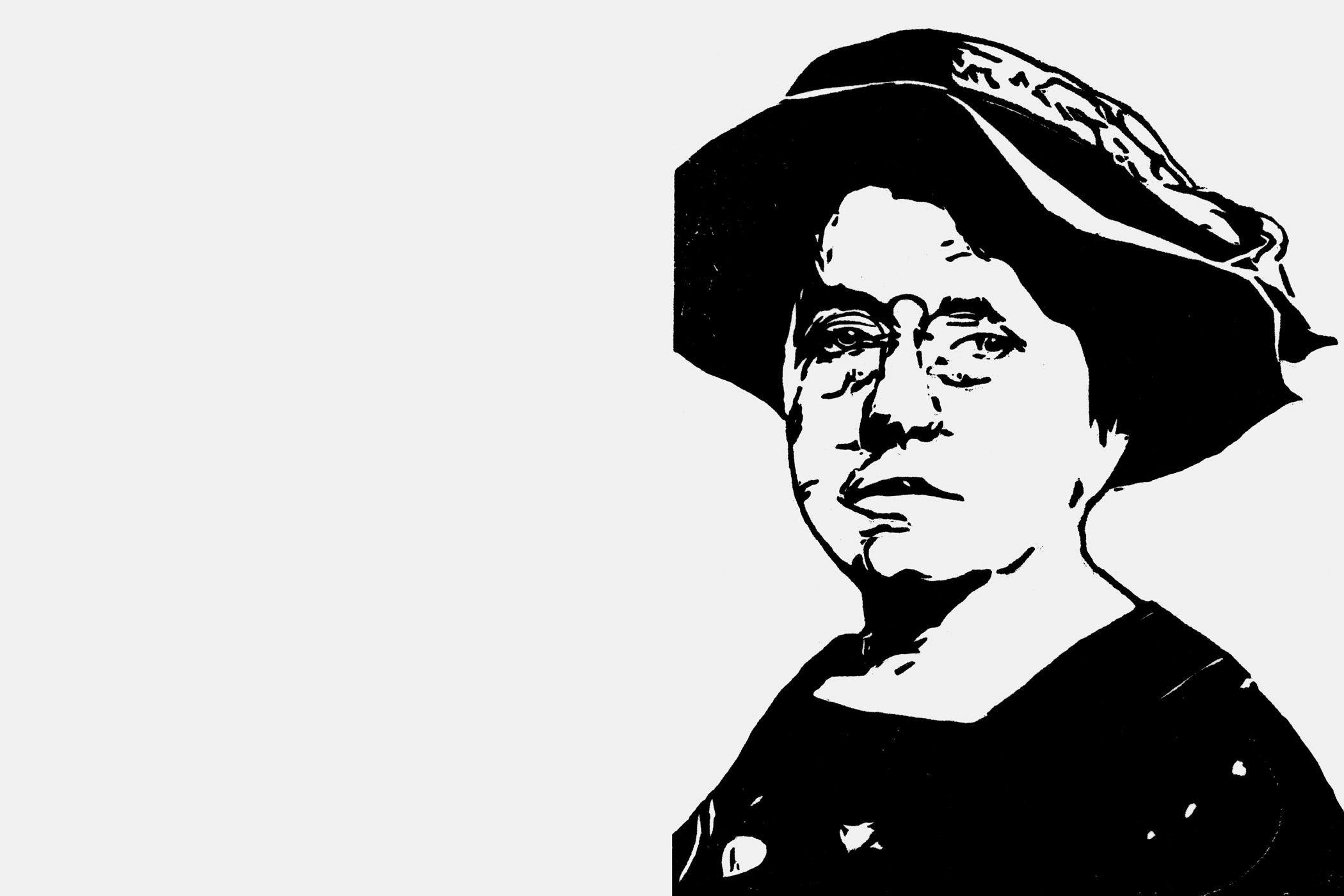 Emma Goldman, Holzschnitt von Christian Thanhäuser